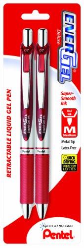 Pentel EnerGel Deluxe RTX Retractable Liquid Gel Pen, 0.7mm, Metal Tip, Red Ink, 2 Pack (BL77BP2B) (Retractable Pentel Red Pen)
