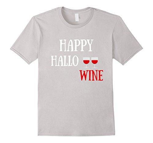 [Mens Happy Hallo Wine Tshirt for Halloween, Hallowine Shirt Women 3XL Silver] (Office Themed Halloween Costume Ideas)