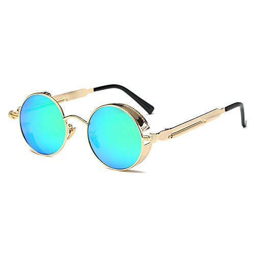 AMZTM Small Round Steampunk Women and Men Sunglasses Metal Frame Mirrored Reflective Lens Polarized Glasses (Golden and Green, ()