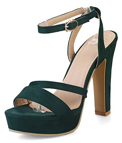 Aisun Women's Sexy Faux Suede Buckle Ankle Strap Open Toe Chunky High Heel Platform Sandals Green