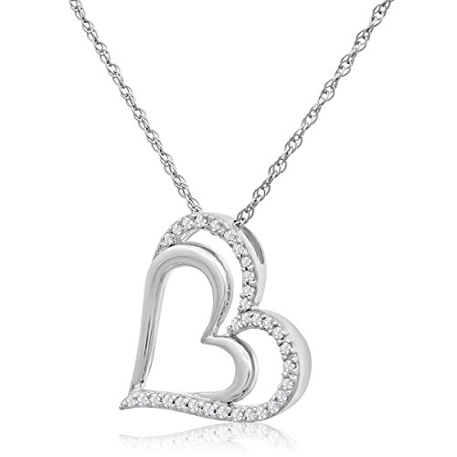 Sterling Silver Diamond (1/4cttw) Double Floating Heart Pendant Necklace, 18 Inches ()