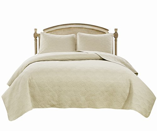 Williom Town Prewashed 3 PC Solid Color Quilted Pattern Coverlet Quilt Set, Ivory, Queen