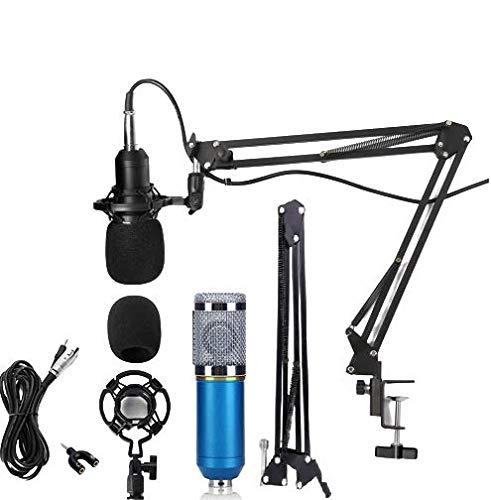 TECHBLAZE Professional BM-800 Cardioid Condenser Microphone Set 3.5mm Jack Recording Microphone Set w/Suspension Boom Scissor Arm Stand + Shock Mount & Audio Splitter, Studio Recording Mic Set– Blue