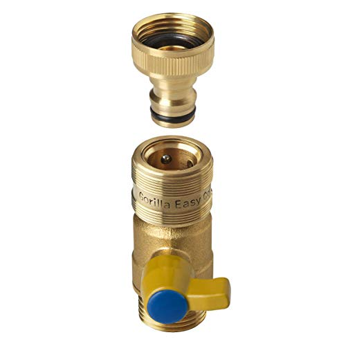 GORILLA EASY CONNECT Garden Hose Quick Connect Fittings with Ball Valve. ¾ Inch GHT Solid Brass (1 Ball Valve & 1 Male Connector) (1 1 4 Inch Brass Ball Valve)