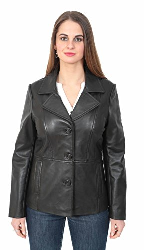 Ladies Leather Blazer Coat Fitted Classic Hip Length Womens Jacket Judy Black (Medium) Nappa Leather Blazer
