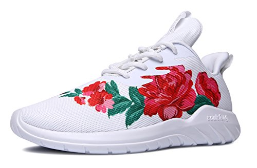 Soulsfeng Mens Womens Fashion Sport Shoes Lace up Cushioning Breathable Fabric Flower Design Couples Sneaker
