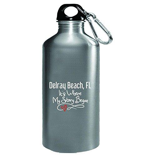 Delray Glass - Delray Beach Fl Where My Story Began Hometown Home City Birth - Water Bottle