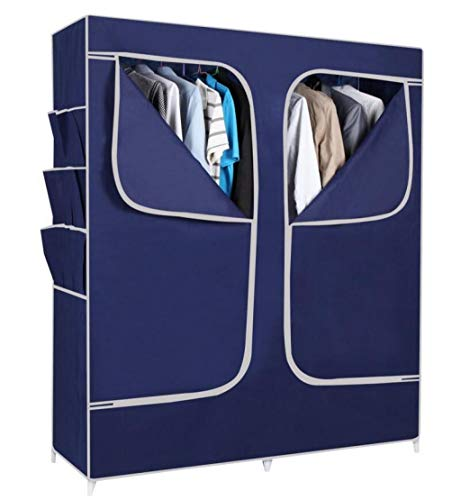 (ALWUD Portable Wardrobe Clothes Storage Organizer, Non-Woven Fabric with Hanging Rod Big Closet Shelves 18pcs Side Pocket,Blue_59x67x19.6 inch)