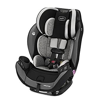 Image of Baby Evenflo EveryStage DLX All-in-One Car Seat, Kids' Rear-Facing Seat, Convertible & Booster Seat, Grows with Child Up to 120 lbs, Angled for Comfort & Safety, 3-Times-Tighter Installation, Canyons Gray