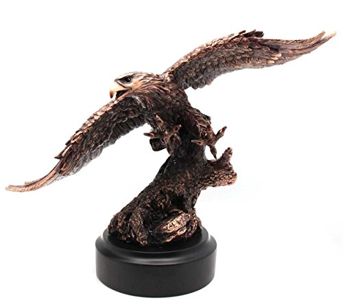 - American Bald Eagle In Flight Patinated Copper Bronze Figurine | Sculpture |Statue