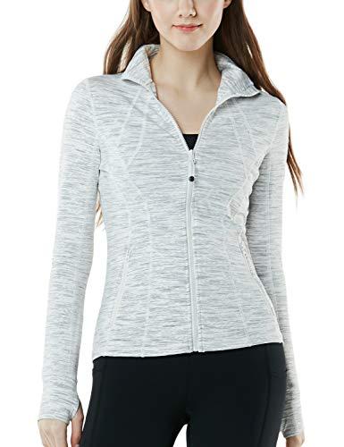 TSLA Women's Yoga Lightweight Active Performance Full-Zip Jacket, Full-Zip(fyj01) - Space Dye White, X-Large