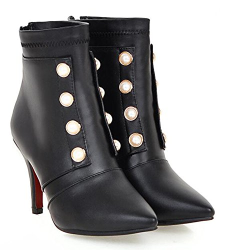 CHFSO Womens Sexy Stiletto Waterproof Fully Fur Lined Beaded Pointy Zipper Ankle Martin Winter Boots Black Ssn78