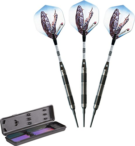 Elkadart Black Mamba 80% Tungsten Soft Tip Darts with Storage/Travel Case, 16 Grams