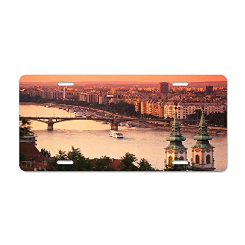 Budapest at Sunset Novelty Front License Plate Decorative Vanity Aluminum Auto Car Tag 12 x 6 Inch (Vanity Daisy Set)