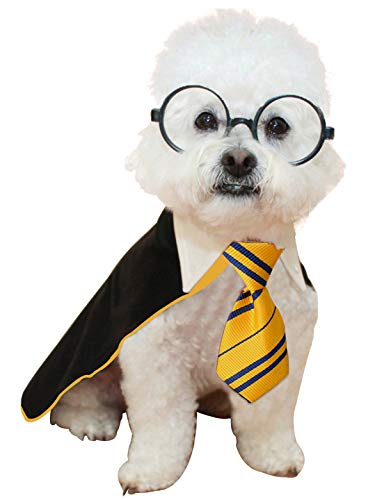 Impoosy Christmas Pet Dog Shirt Puppy Cat Wizard Costume Cute Xmas Clothes for Small to Large Dogs Cats Outfits with Glasses (X-Large,Yellow) from Impoosy