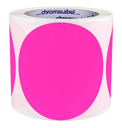 ChromaLabel 4 inch Color-Code Dot Labels   250/Roll (Fluorescent Pink)