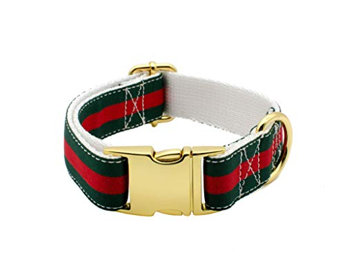 Luxury Designer Inspired Gucci Dog Collar and Leash Set, Handmade with Gold Hardware, 1 Inch Wide, Dog Collars for Small, Medium, Large Dogs