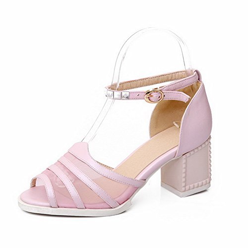 AmoonyFashion Womens Solid Soft Material Kitten-Heels Buckle Open-Toe Sandals Pink OFigkIdKk
