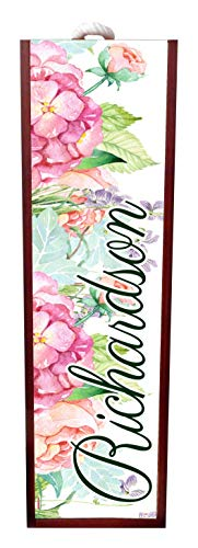 Jacks Outlet Watercolor Floral Print -Wine Box Personalized - Wine Box Rosewood with Slide Top - Wine Box Holder - Wine Case Decoration - Wine Case Wood - Wine Box Carrier
