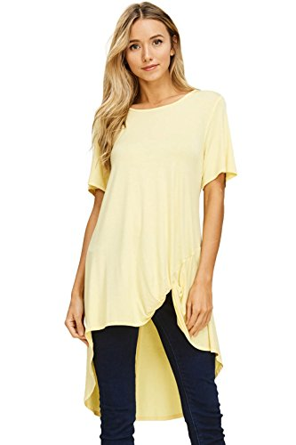 Annabelle Women's Round Neck Hi Low Hem Front Side Knot Short Sleeve Solid Top Banana Small T1179