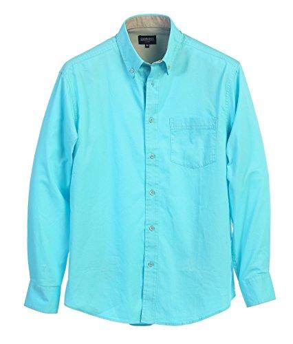 Gioberti Mens Long Sleeve Casual Twill Contrast Shirt, Aqua, X (Aqua Long Sleeve Shirt)