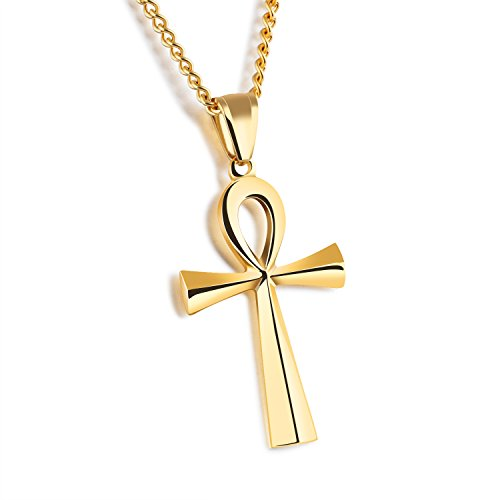 Men's Stainless Steel Egyptian Ankh Cross Pendant Necklace With 22.4