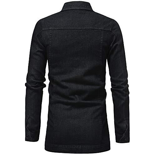Demin Jacket Top Coat Outwear, ZYAP Autumn Winter Mens Vintage Distressed Coat (Black,XXL)