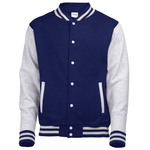 Awdis Unisex Varsity Jacket (XXL) (Oxford Navy / Heather Grey)