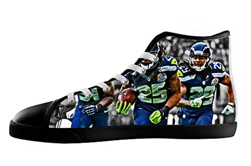 Men's Nonslip Black High Top Canvas Shoes with Rubber Soles for Seahawks Fans