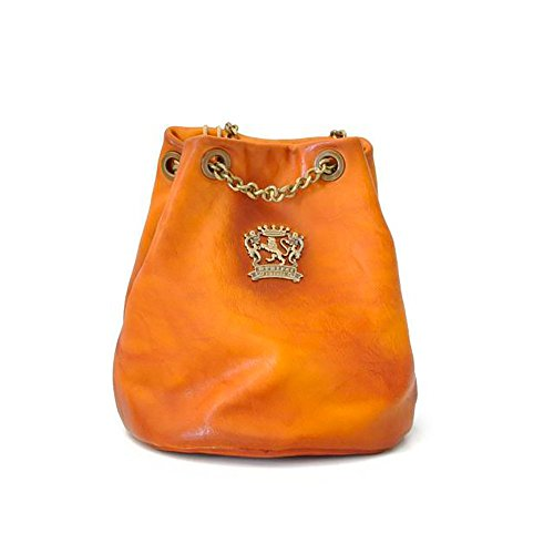 Pratesi Womens Personalized Custom Initials Embossing Italian Leather Pienza Bag in Cow Leather in Cognac