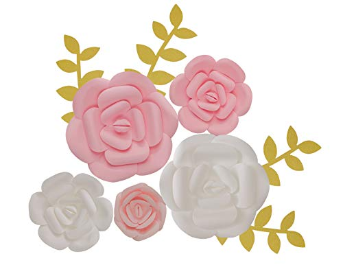 (KEIRA PRINCE CRAFTS Paper Flowers Decorations (Pink White, Set of 5) Large, Med, Sml Wedding Flowers Centerpieces, Birthday Backdrop, Nursery Wall Decor, Photobooth (NO DIY))