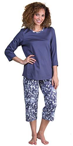 Calida Pajamas 3/4 Sleeve Capri Length Cotton Knit Set in Mystic Slate (Dark Gray/Print, L)