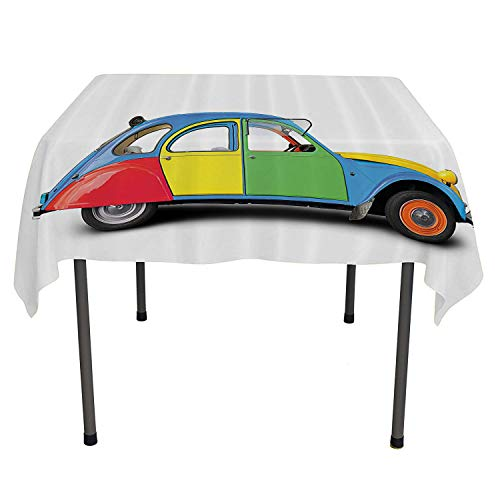 1960s Decorations Collection Outdoor Picnics Retro Car Mini Small Fun Europe Chromium Old Fashion Good Old Days Picture Outdoor Picnic Table Cloth Washable Spring/Summer/Party/Picnic 60 by 60