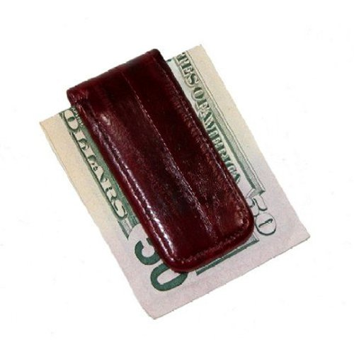 MJ Masters Men's Eel Skin Large Magnetic Money Clip, Burgundy ()