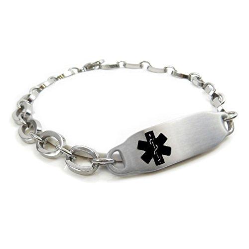 MyIDDr - Pre-Engraved & Customizable Epilepsy Alert Bracelet, Oval Links, Black Symbol