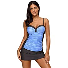G&Kshop Women's Two Piece Swimsuit Workout Sport Tankini Top With Skirt Bathing Suits