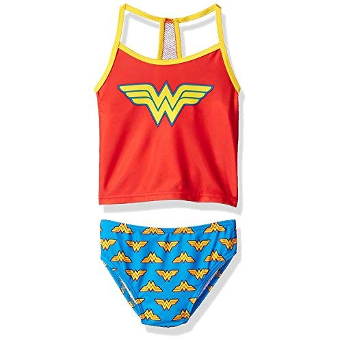 Wonder Woman Superhero Girls Tankini Swimwear Swimsuit (6X, Red/Blue)]()