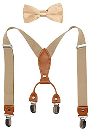 Suspenders & Bowtie Set for Kids and Baby - Adjustable Elastic X-Band Strong Clips Braces (Champagne)