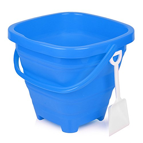 Packable Pails - Collapsible Silicone Bucket [5 Liter] with Handle + Shovel | Travel, Beach, Sandbox, Camping, Fishing, Outdoors, Water, Gardening, Cleaning, Car wash | Kids Easter Gift Basket (Blue)