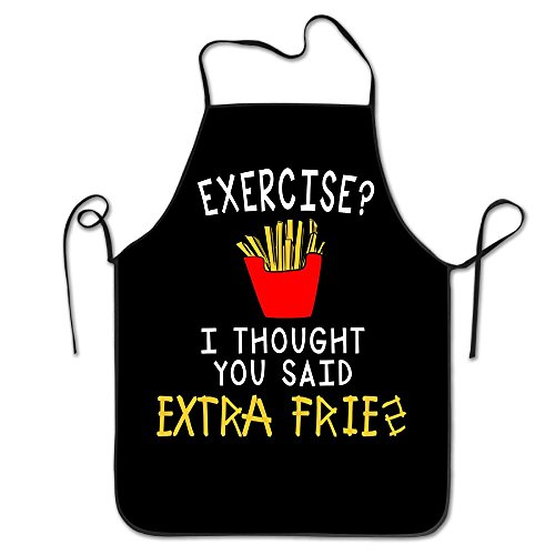 [HEHE TAN Unisex I Thoucht You Satd French Fries Apron For Women And Men 100% Polyester Durable Comfortable Bib Chef Kitchen Aprons] (French Fries Costume Diy)
