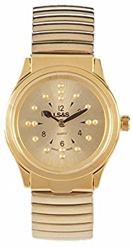LS&S Braille Watch - Gold Face - Gold Expansion Band - Ladies