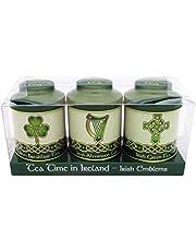 Irish Emblems 20g Tea Caddies Set of Tin Tea, Breakfast, Afternoon & Green Tea