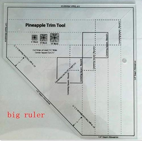 Non-Slip The Pineapple Ruler New Quilting Ruler Pineapple Trim Tool MST-03 by Rubyshop (MST-03-Big)
