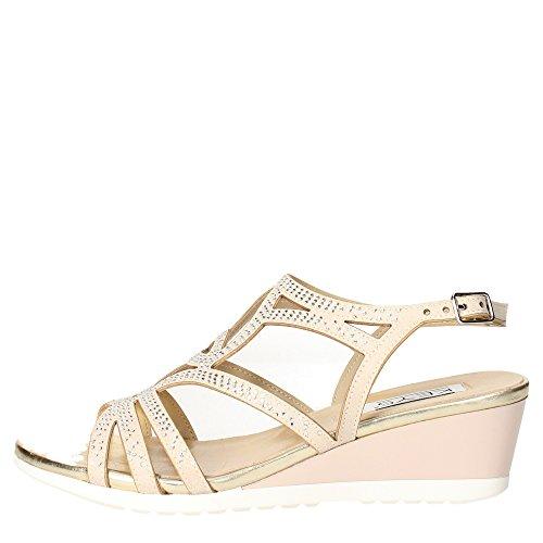 CLAVES 5436 zapatos de color topo pulsera mujer sandalia zeppetta diamantes de imitación Beige