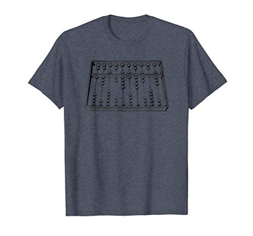 Mens Retro Vintage Abacus T-Shirt - Vintage Math TShirt Large Heather Blue