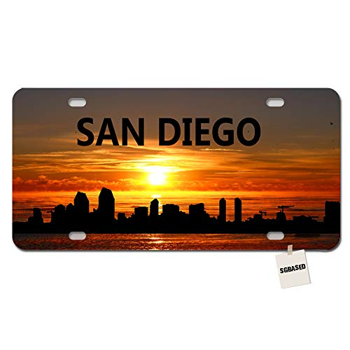 SGBASED US Basketball City License Plate Cover City Skyline Metal License Plate for Car with 4 Holes(12 X 6 inches) - San Diego 02