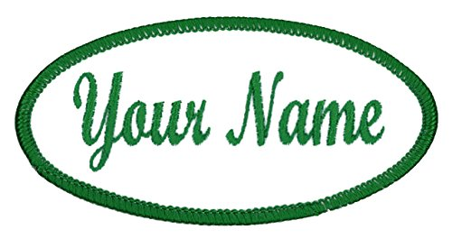 OVAL Name patch Uniform or work shirt personalized Identification tape Embroidered Celtic Green: 2