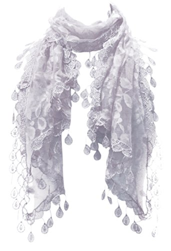 Long Sash Style Scarf (LL Silver Gray Lace Scarf Women Leaf Pattern Rain Drop Tassels)