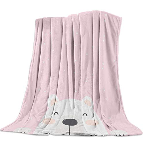 Flannel Fleece Blanket 49x79inch Cartoon Polar Bear Kids on Pink Background Ultra Soft Lightweight All-Season Throw/Blanket for Sofa Couch Bed