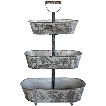 Creative Co-Op Three-Tier Serving Tray with Handle, Gray